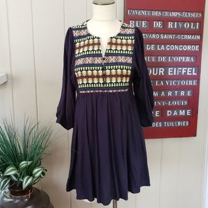 Umgee | S Navy tunic dress multi color embroidery